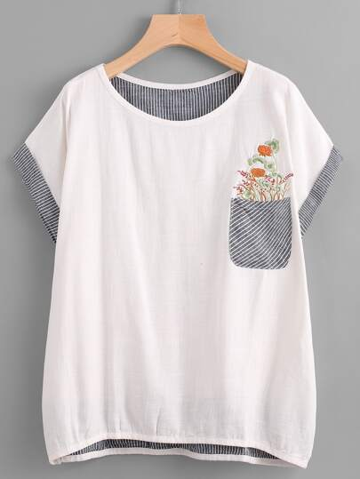 Embroidered Contrast Striped Dip Hem Pocket Tee