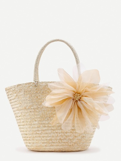 Mesh Flower Detail Straw Beach Tote Bag