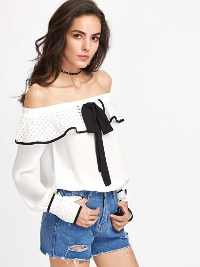 Tie Front Binding Eyelet Frill And Cuff Bardot Top
