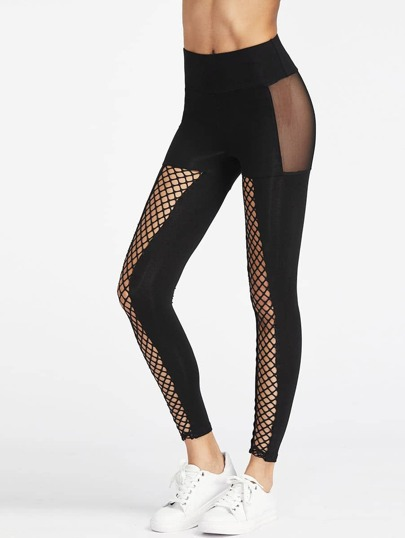 Fishnet Front Mesh Insert Leggings