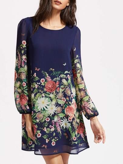 Vestido con estampado de flor de manga farol - marino