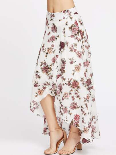 High-Low Hemlines Floral Skirt