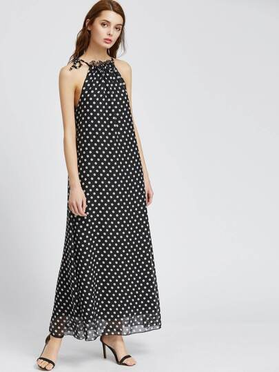 Vestido Maxi de lunares de espalda abierta