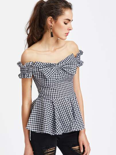 Bow Front Shirred Ruffle Sleeve Gingham Peplum Top