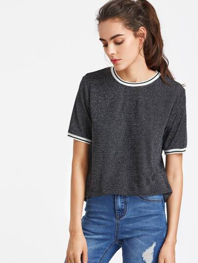 Striped Trim Glitter Tee