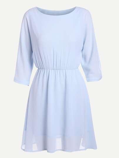 Split Sleeve Elasticized Waist Chiffon Dress