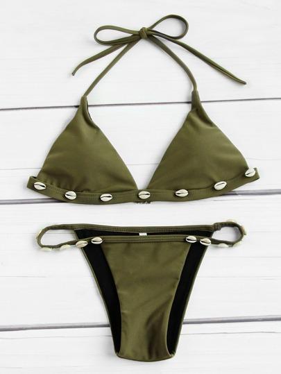 Shell Embellished Triangle Bikini Set