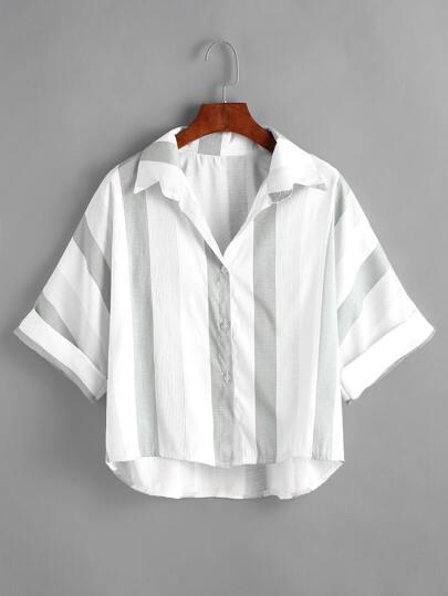 Blusa de doblez contraste de rayas