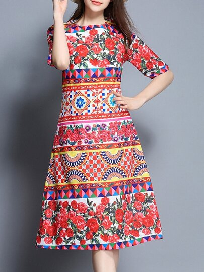 Tribal Print A-Line Dress