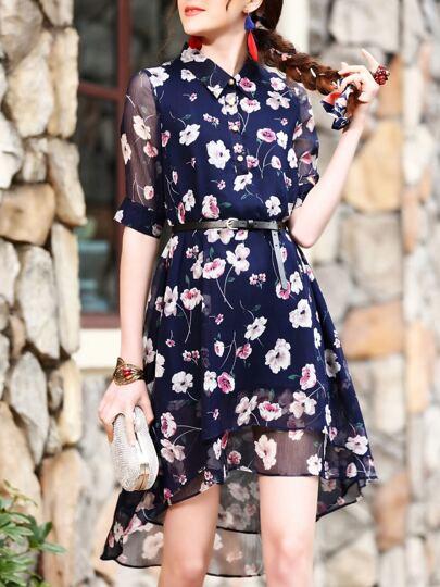 Vestido fino irregular con estampado de flores