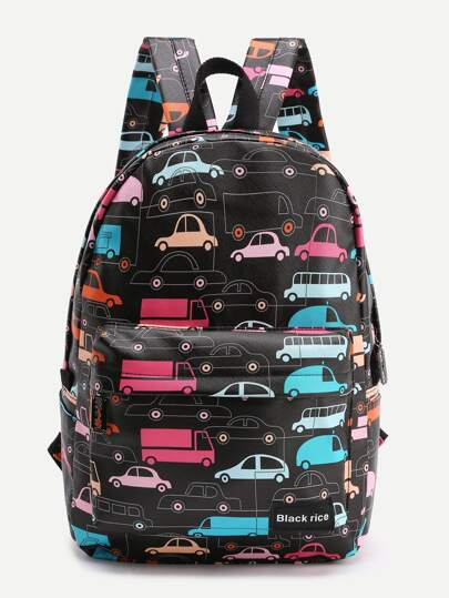 Car Print Pocket Front Backpack