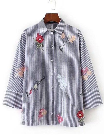 Contrast Striped Embroidery Loose Blouse
