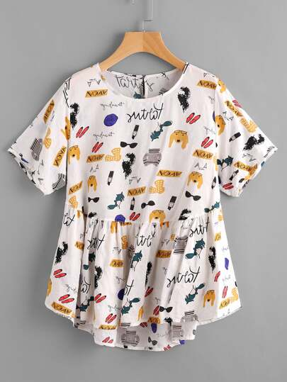 Blusa de espalda con abertura con estampado de dibujos animados