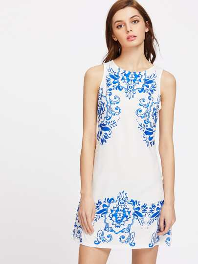 Porcelain Print Zipper Back Sleeveless Dress