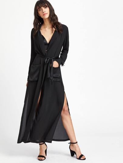 Black Belted Cuff Pocket Front Side Slit Wrap Coat