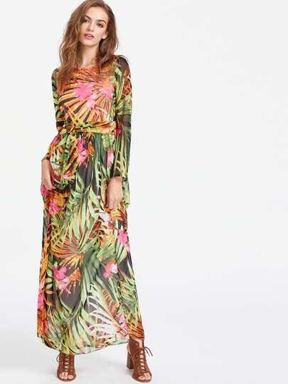 Vestido de gasa con estampado tropical con cordón