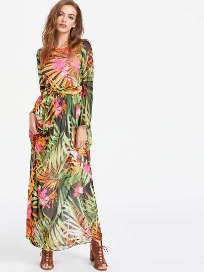 Tropical Print Self Tie Full Length Chiffon Dress
