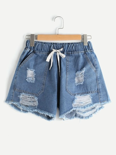 Elastic Self Tie Waist Destroyed Fray Hem Shorts