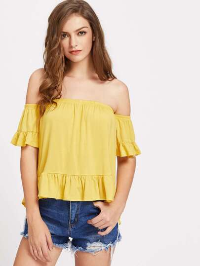 Ruffle Trim High Low Off Shoulder Tee