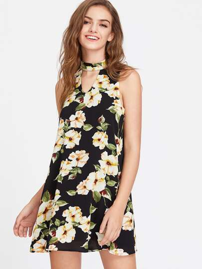 Flower Print Choker Neck Buttoned Keyhole Back Dress