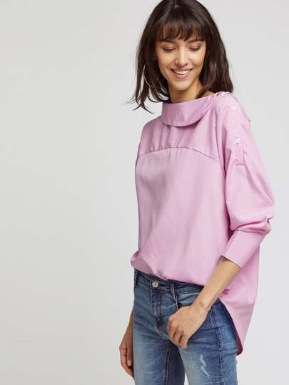 Vertical Pinstripe Button Side Curved Hem Top