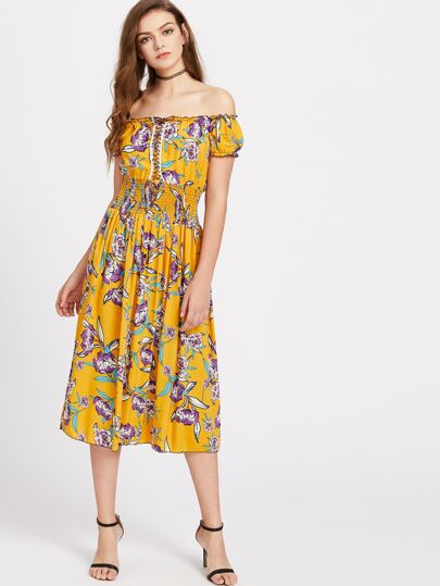 Lace Up Detail Shirred Waist Floral Bardot Dress
