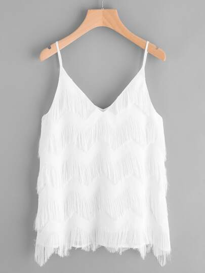 Tiered Chevron Fringe Cami Top