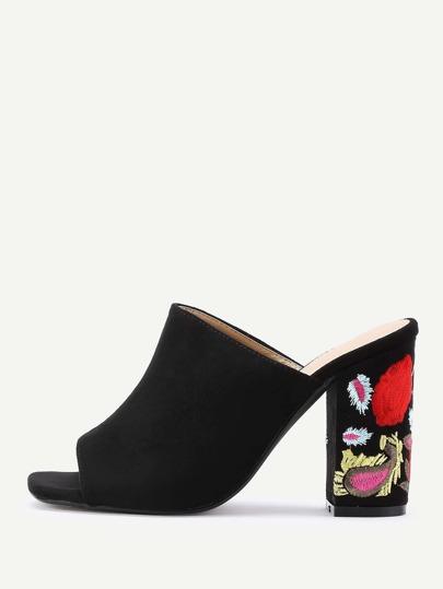 Peep Toe Flower Heeled Mules