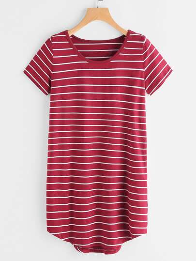 Striped High Low Curved Hem Tee Dress