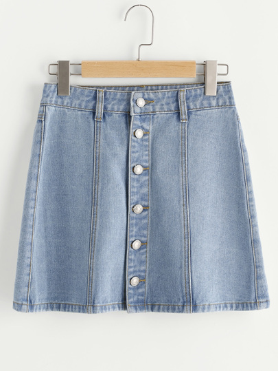 Button Up Paneled Denim Skirt