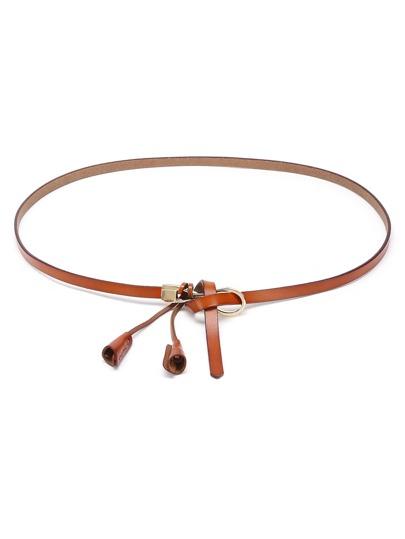 Cinturón de cuero de imitación con espiga con nudo