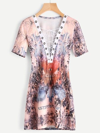 Lace Up Deep-Plunge Neck Abstract Print Dress