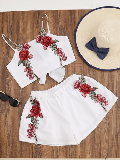 Rose Applique Tie Back Cami Top With Shorts
