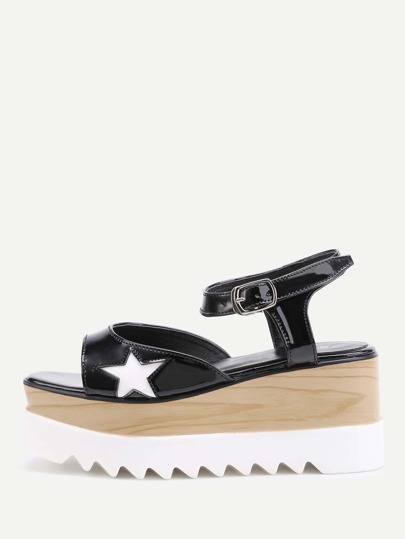 Star Pattern Wedge Sandals
