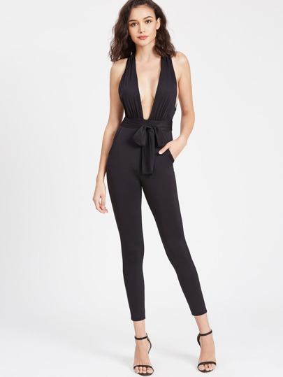 Plunge Neck Crisscross Back Jumpsuit