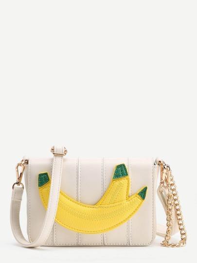 Borsa a tracolla con catena con toppa di banana