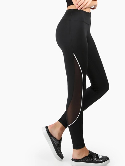 Active Pipe Mesh Leggings BLACK