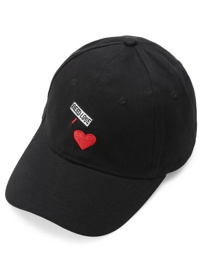 Heart Embroidery Baseball Cap