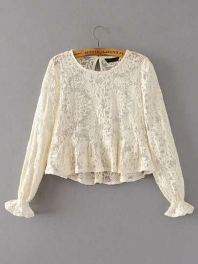 Shirred Cuff Keyhole Back Lace Top