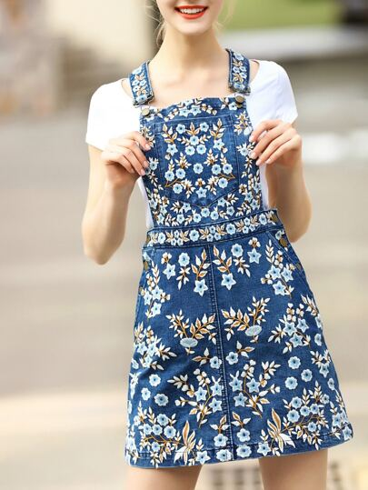 Blue Strap Flowers Embroidered Denim Dress