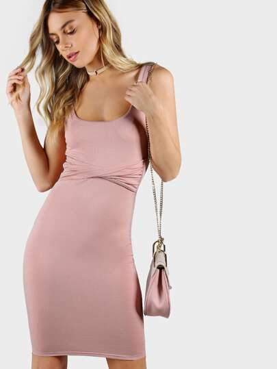 Round Neck Twist Front Bodycon Dress PINK