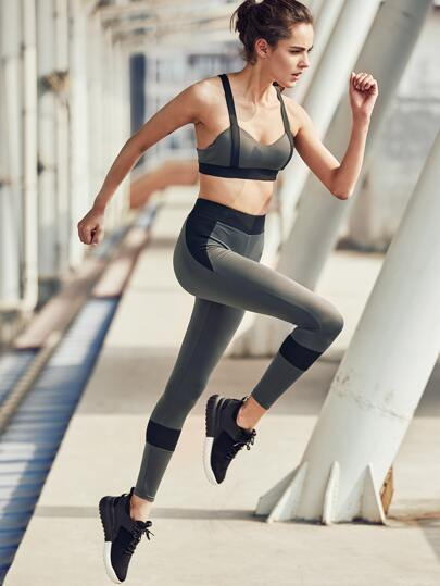 Active Panel Gym Bra With Leggings