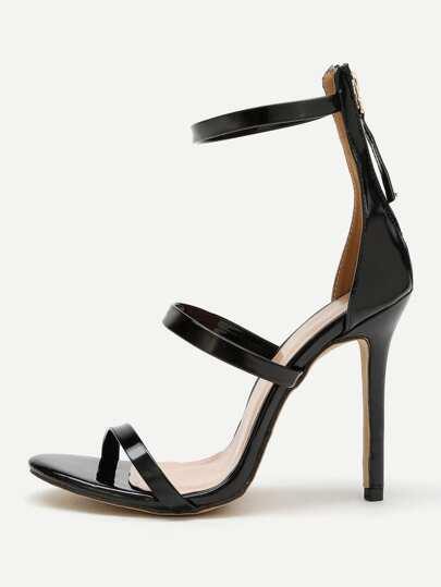 Sandales à talons aiguilles avec le zip en PU