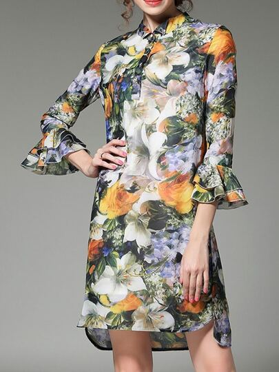 Multicolor Bell Sleeve Flowers Print Shift Dress
