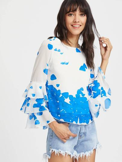 Printed Tiered Bell Sleeve Keyhole Back Top