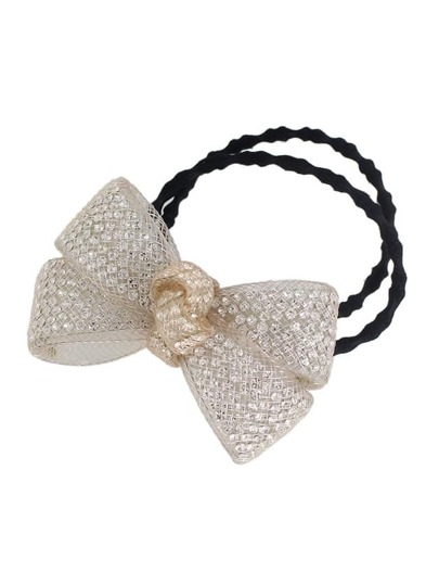 Beige Color Trendy Multicolors Rhinestone Bow Elastic Hair Rope