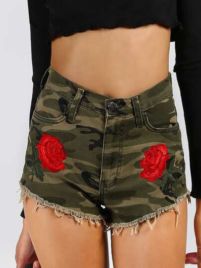 High Waisted Embroidered Camo Shorts CAMOUFLAGE