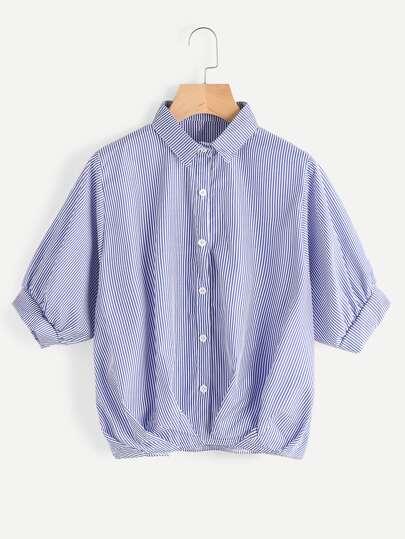 Pinstripe Dip Hem Shirt