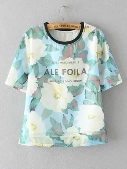 Camiseta de mangas cortas con estampado de flor