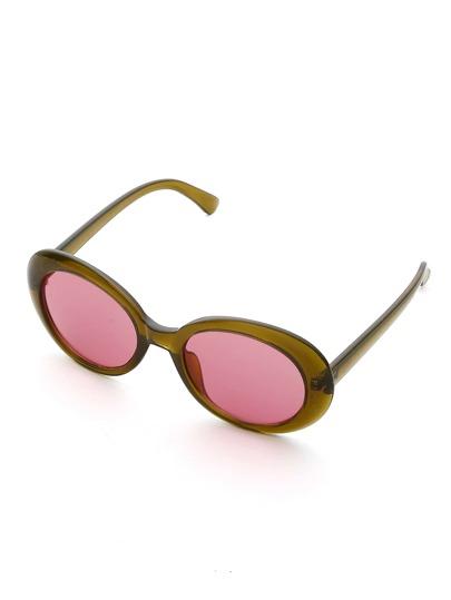 Occhiali da sole con lenti ovali a contrasto